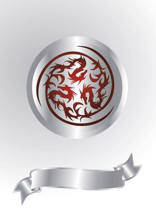 silver dragons isolated Vector