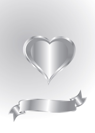 heart wings: silver heart isolated Illustration