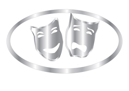 tragedy mask: silver masks in theater isolated