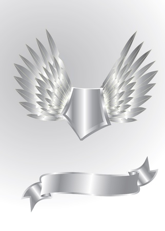 silver ribbon: silver shield isolated