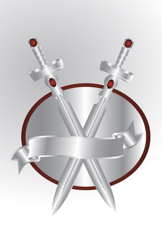 silver swords isolated Vector
