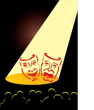 comedy tragedy: masks in theater Illustration