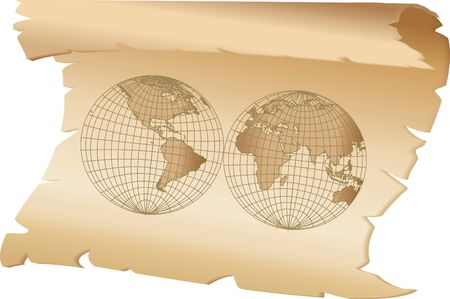 world on parchment isolated Vector