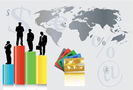 credit report: world profit with colorful credit cards