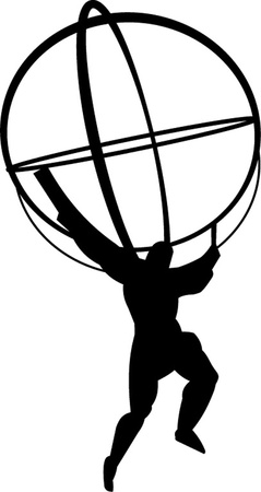businessman carrying a globe: atlas