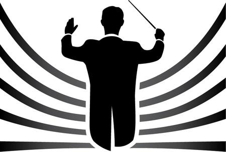 orquesta clasica: aislado conductor blanco y negro