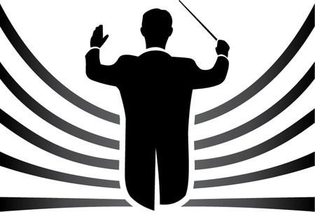 symphony orchestra: black and white conductor isolated