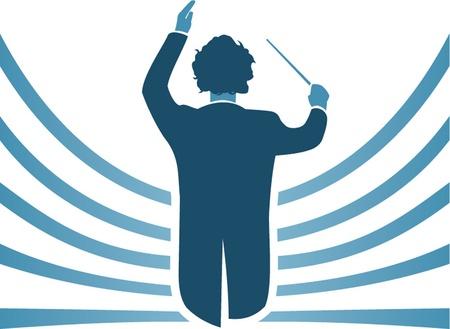 orquesta clasica: conductor de la música Vectores