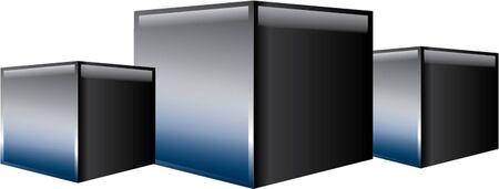 three cubes Stock Vector - 21060349