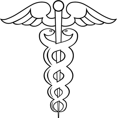 Caduceus outline isolated Illustration