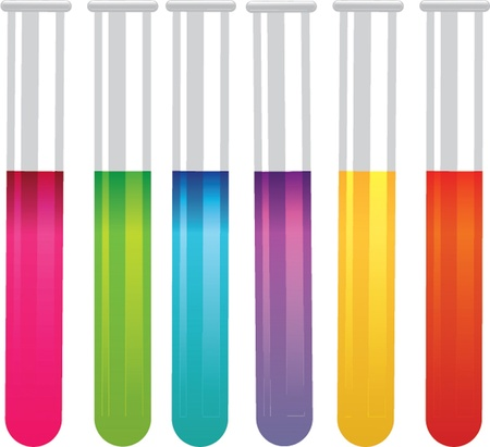 toxic substance: colorful test tubes illustration