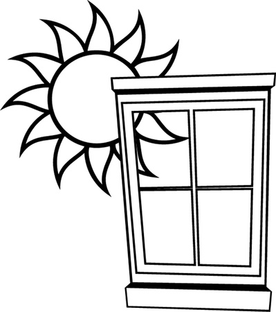 window with shiny sun outline Vector