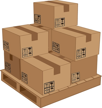 storage container: cardboard boxes on wooden palette  illustration Illustration