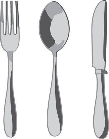 cubiertos de plata: plata sobre fondo blanco