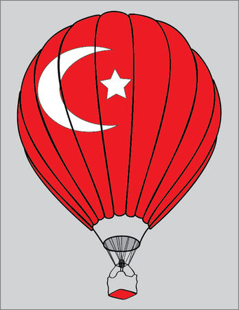 turkish flag: air balloon turkish flag