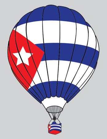 cuban: air balloon cuban flag