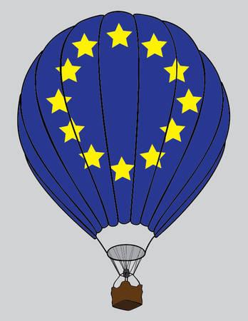 air balloon EU flag Illustration