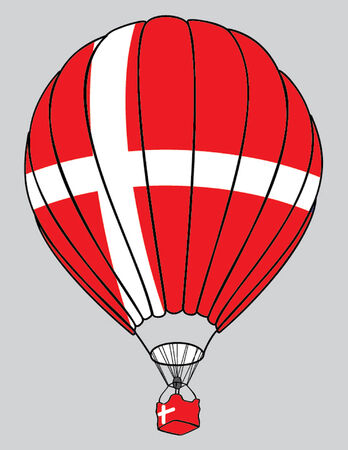 danish flag: air balloon danish flag Illustration