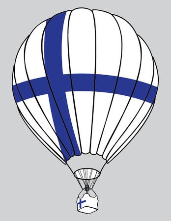 bandera de finlandia: Balloone aire bandera de finlandia Vectores
