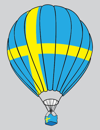 sverige: air balloone swedish flag
