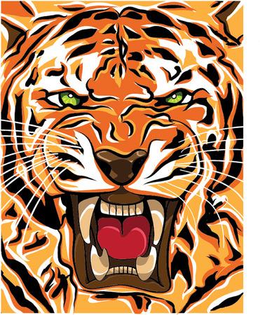 tiger roaring illustration Vector