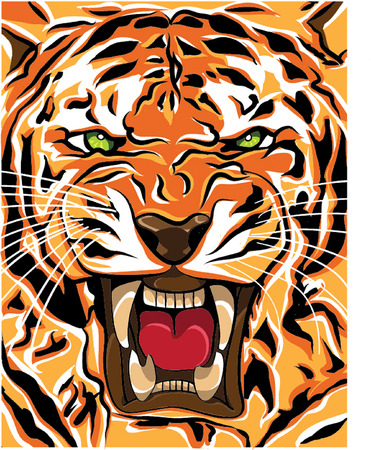 tiger roaring illustration