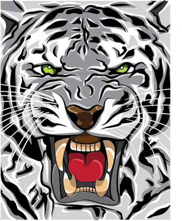 white tiger roaring illustration