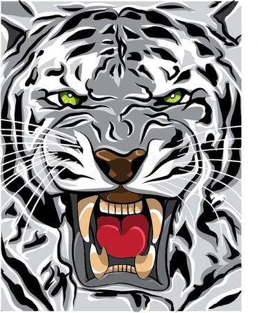 siberian tiger: white tiger roaring illustration