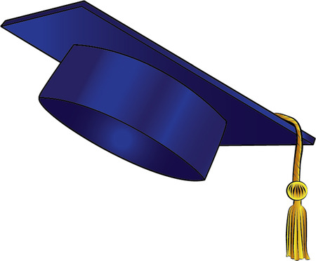 graduating cap isolated illustration