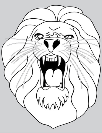 eyes wide open: lion roars outline illustration