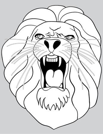 eyes wide open: lion roars outline illustration