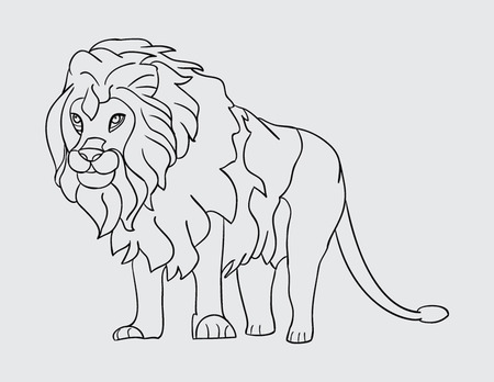 eyes wide open: lion standing outline