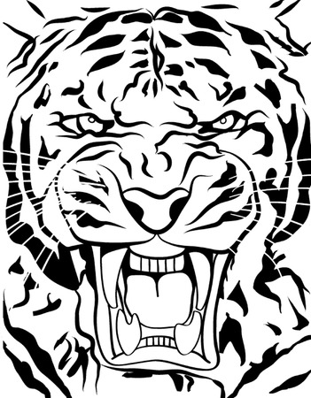 bengal: tiger roaring outline