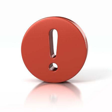 exclamation mark: Muestra del signo de exclamación dentro de un círculo rojo Foto de archivo