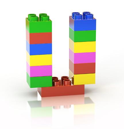 children s toy brick font letter U photo