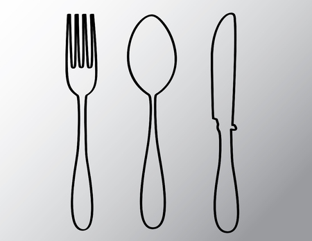 silverware outline isolated illustration