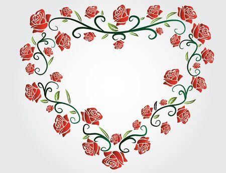 rosas rojas: corazón de rosas rojas