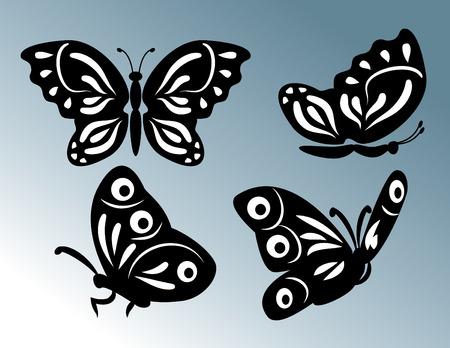 morpho: set of butterfly illustration