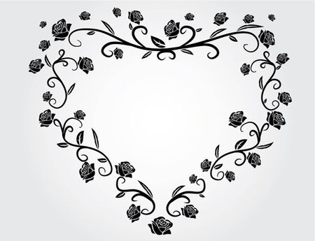 white roses: heart with roses black and white illustration