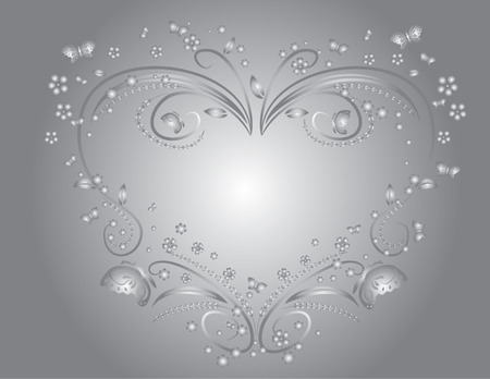 floral heart: floral heart isolated illustration Illustration