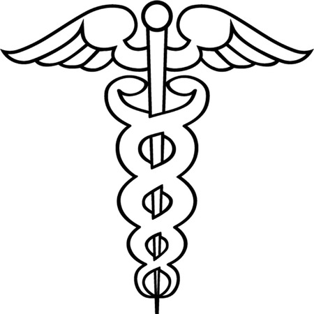 ayurveda: Caduceus outline isolated illustration Illustration