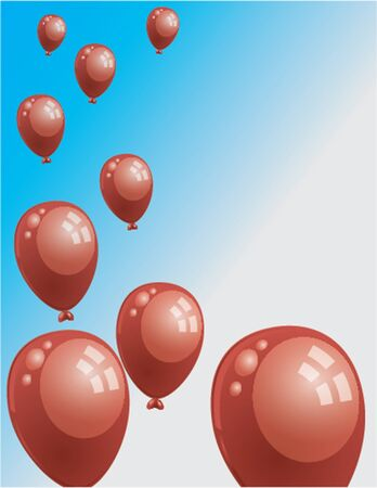 red balloons: red flying balloons
