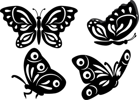 set of butterfly isolated illustration