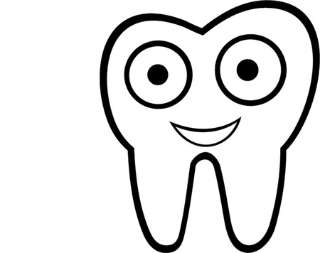 carious cavity: smiling tooth  isolated illustration
