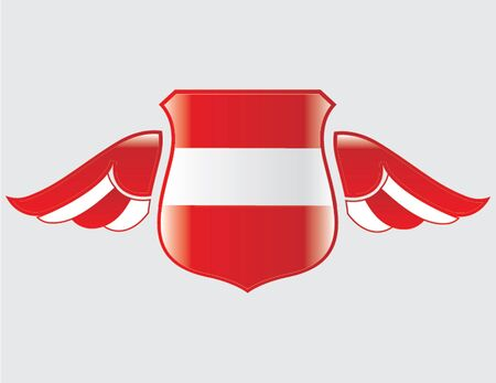 austrian flag: austrian flag on shield with wings Illustration