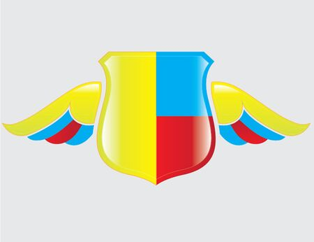 colombian flag: colombian flag on shield with wings