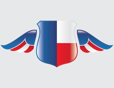 czech flag on shield with wings Illustration