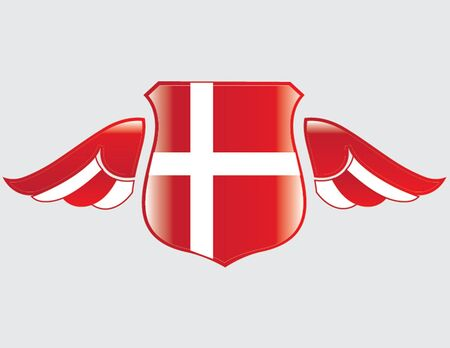 danish flag on shield with wings