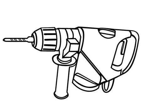 drilling machine outline isolated illustration