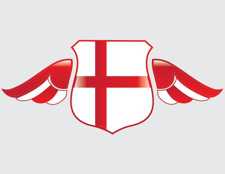 england flag on shield with wings